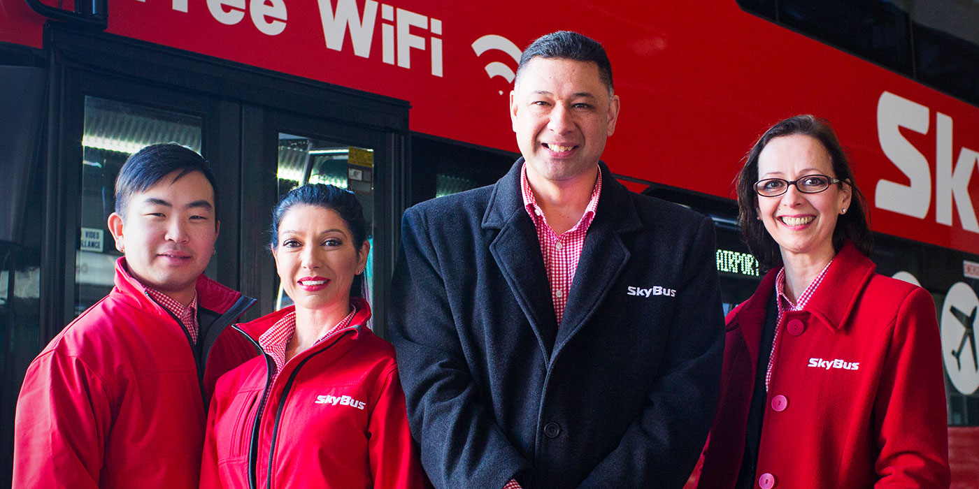Friendly SkyBus staff