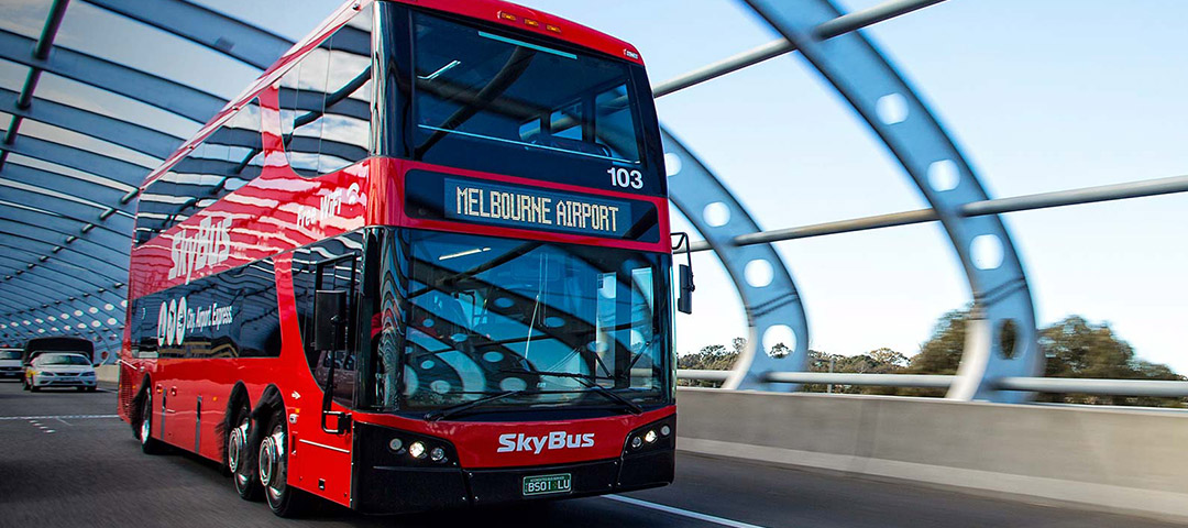 SkyBus Melbourne City Express double decker on route to Southern Cross Station