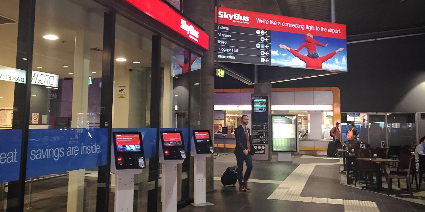 SkyBus ticket booth and self-serve kiosks